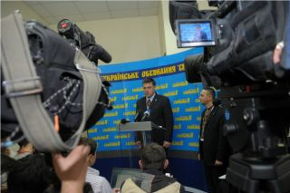 брифинг Олега Тягнибока, фото Киев еврейский