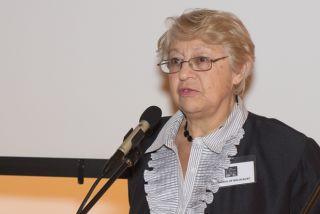 Стелла Соколовская на презентации выставки «Они никогда не станут взрослыми» в Иллинойском Музее Холокоста