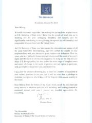 Письмо Переса Клинтон